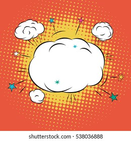Cloud for Comic Book Bubble Text on a dots pattern background in Pop-Art Retro Style