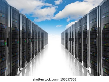 Cloud computing and computer networking concept: rows of network servers against blue sky with clouds