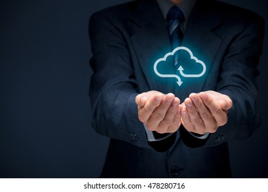 Cloud computing concept - businessman offer cloud computing service represented by icon.