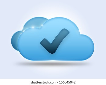 Cloud computing concept with check mark