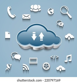 Cloud computing concept: Cloud and communication and network flat design icons on blue background