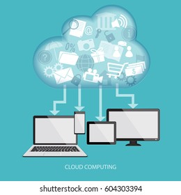 Cloud computing concept with computer, laptop, tablet and mobile phone.  illustration.