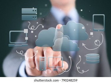 Cloud computing concept - connect to cloud. Businessman or information technologist click on cloud computing icon.