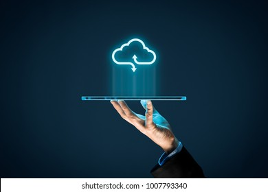 Cloud computing concept - connect devices to cloud. Businessman or information technologist with cloud computing icon and tablet.