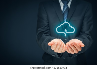 Cloud computing concept - connect devices to cloud. Businessman or information technologist with cloud computing icon.