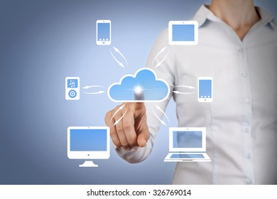 Cloud Computing Concept and Connect Dots on Touch Screen