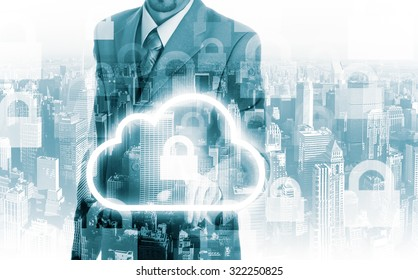 Cloud computing concept man selecting virtual interface.