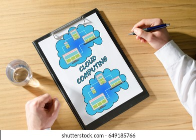 Cloud computing concept on a clipboard