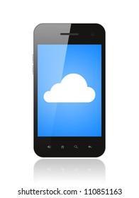 Cloud computing concept on the smart phone isolated on white