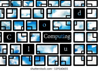 Cloud computing concept reflected on the transparent keyboard with clouds on background