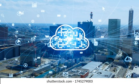Cloud computing concept. Software as a Service. SaaS. Communication network.
