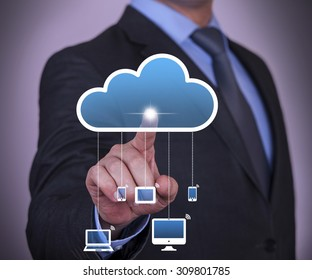 Cloud Computing Concept Touching on Screen