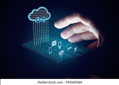 Cloud computing concept, Woman using smartphone and protection with virsual screen.