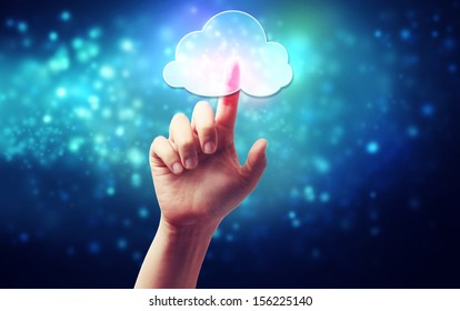 Cloud computing connectivity concept icon being pressed on a blue technology background