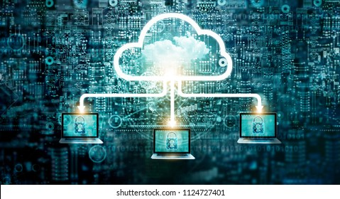 Cloud computing diagram network data storage technology service on structure circuit computer, Lock, Cyber security, Block chain, Cloud Computing Concept