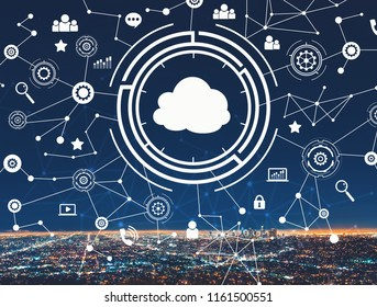 Cloud computing with downtown Los Angeles at night
