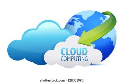 Cloud computing globe and arrows illustration design over a white background