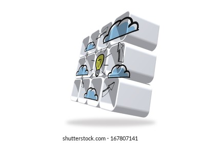 Cloud computing idea cycle on abstract screen
