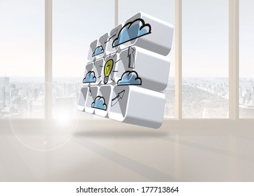 Cloud computing idea cycle on abstract screen against bright white room with windows