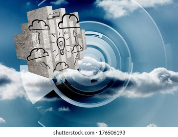 Cloud computing idea on abstract screen against cloud on a futuristic structure