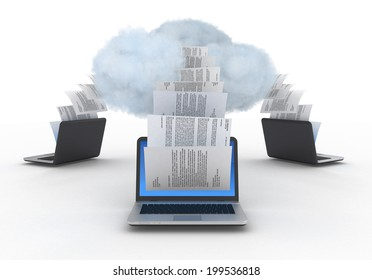 Cloud computing illustration. Laptops with a papers and cloud.