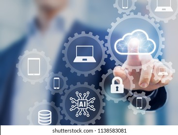 Cloud computing information technology concept, data processing and storage platform connected to internet network, specialist engineering system
