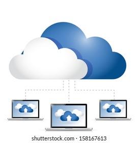 cloud computing laptop connection illustration design over white