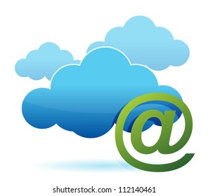 cloud computing and mail sign illustration design over white