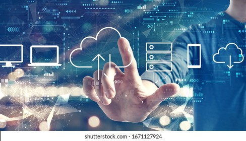Cloud computing with a man on blurred city background