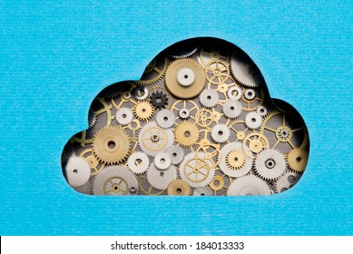 Cloud computing mechanism. Cloud formed by gears and cogs