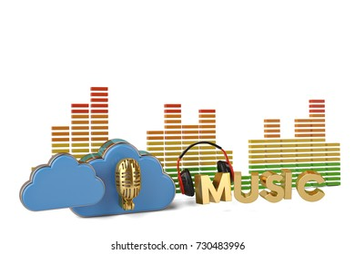 Cloud computing multimedia concept cloud and headphone with music sign on white background.3D illustration.