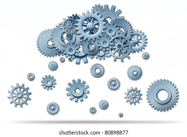 Cloud computing network symbol with a cloud and rain or snow in the form of gears and cogs representing the expansion of the global cloud computing technology.