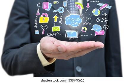 Cloud Computing on Hand Closeup