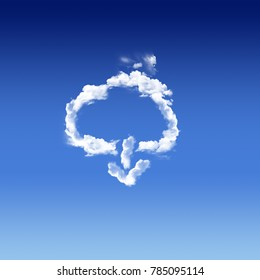 cloud computing with a real cloud in a blue sky and arrow