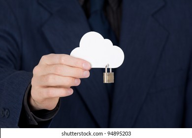Cloud computing security concept. Hand giving secure cloud locked with padlock.