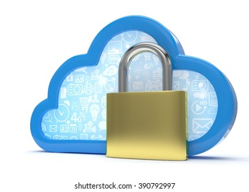 Cloud computing, security concept on white