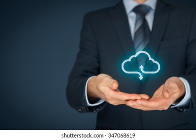 Cloud computing service concept - connect to cloud. Businessman offering cloud computing service represented by icon.