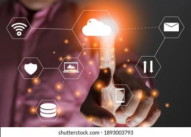 Cloud-Computing-Service und -Support, Technologieinformungskonzept und Datenbank, doppelte Belichtung der Fingerabdrücke, Vektorsymbol, Hightech-Design