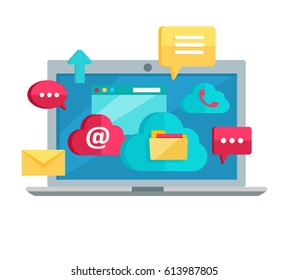 Cloud computing services banner. Networking communication and data icons on screen of laptop. Data protection, global storage service and online cloud storage, security, privacy, online communication