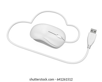 Cloud Computing Symbol with Computer Mouse. 3D rendering