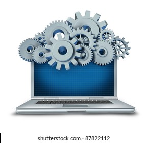 Cloud computing symbol represented by a cloud made of gears and cogs above a laptop computer providing streaming digital content from a remote server to the computing device.