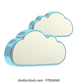 Cloud computing technology icon isolated on white