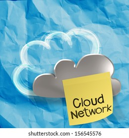 Cloud Computing words on sticky note on crumpled paper  as concept