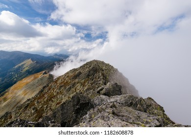 Cloud covered mountain peaks in the High Tatra