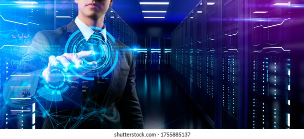 Cloud data, big data analysis, internet of thing IOT technology, crypto currency mine server data AI artificial intelligence futuristic background, online internet connect .