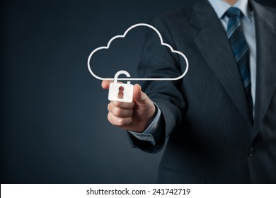 Cloud data security services concept. Safety data management specialist securely lock cloud computing data storage represented by cloud icon with padlock.