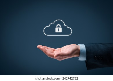 Cloud data security services concept. Safety data management specialist offer secured cloud computing data storage represented by cloud icon with padlock.