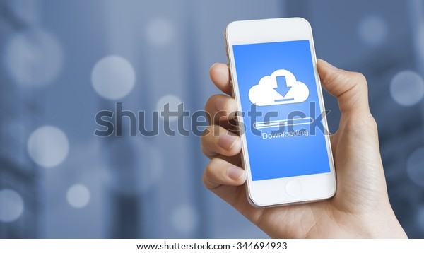 Cloud download to mobile phone from stored data on server
