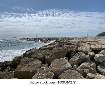 Cloud effect above breakwater in Mediterranean, Gibraltar - Shutterstock ID 1808314279