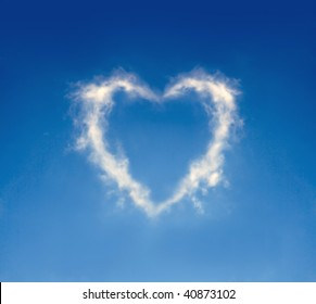 The cloud in the form of heart against a blue sky. To the Valentine's Day joke.